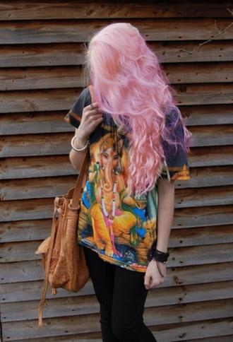 t-shirt hippie groovy cool cute grunge dark hipster top pink hair pastel hair hairstyles indie ganesha ganesh shirt boho shirt spiritual elephant indian print peace silk material