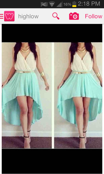 skirt mint skirt gold belt highlow