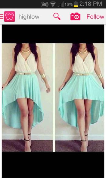 skirt mint skirt gold belt highlow