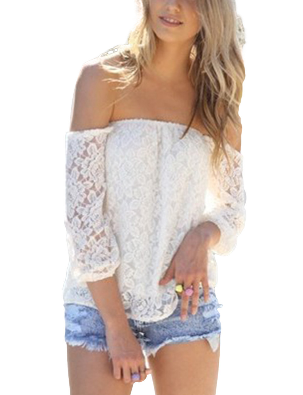 Free Shipping Hot 2014 MS Womens Sexy Off Shoulder Long Sleeve Blouses Ladies Nightclub Top White Lace Strapless Backless Shirts-in Blouses & Shirts from Apparel & Accessories on Aliexpress.com