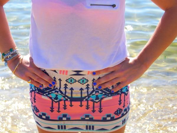 skirt corail azteque aztec bershka blanc white blouse shirt