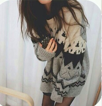 sweater patterned cream warm cozy knitted oversized fall autumn white creamwhite cozy sweater knitted sweater jumper oversized sweater big sweaters fall sweater