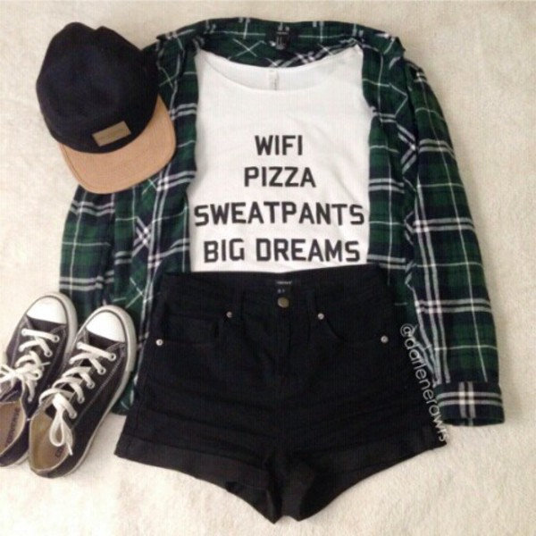 blouse t-shirt cool shirts pizza wifi dreams trendy fashion cute top white white t-shirt quote on it white shirt big dreams flannel shirt snapback converse low top sneakers flannel shorts black plaid green hat jeans cardigan pants home accessory jacket earphones