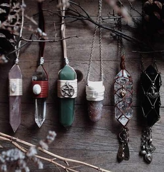jewels necklaces & pendants necklace gems gem stones boho hippie natural art witch witchcraft moon