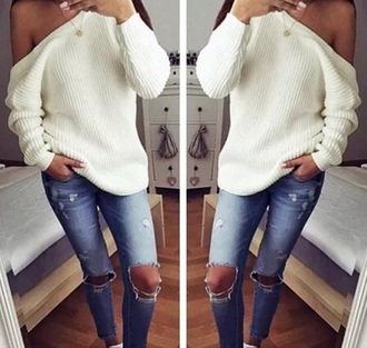 sweater jumper white heavy knit jumper white sweater off the shoulder off the shoulder sweater