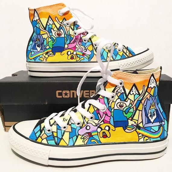 73346c848efc67 Adventure Time Converse Shoes hour adventure custom Jake Finn ...