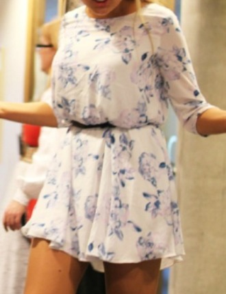 dress floral floraldress floral print longsleeves white longsleeve dress blue white