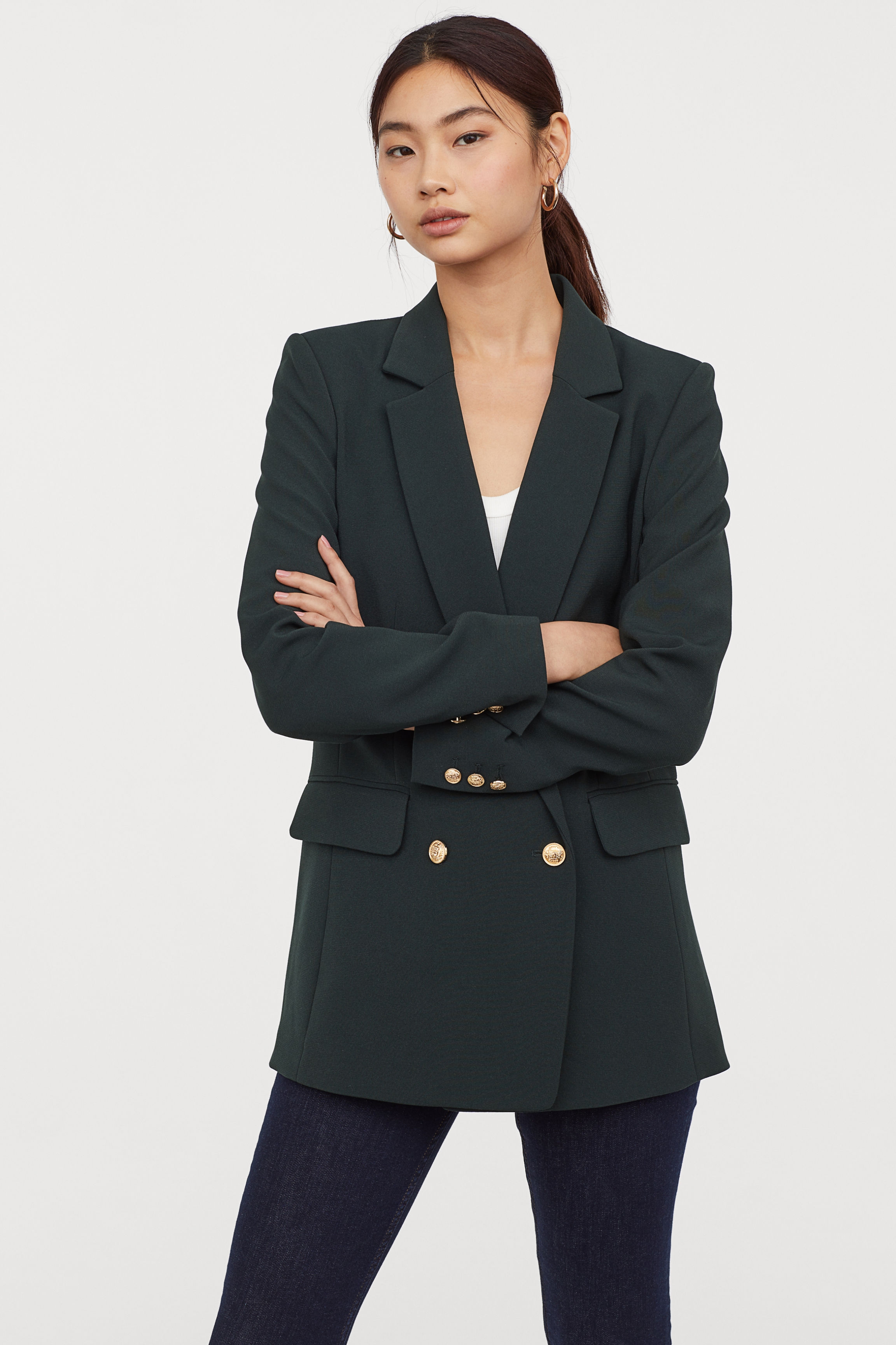 Double-breasted Jacket - Black - Ladies | H&M US