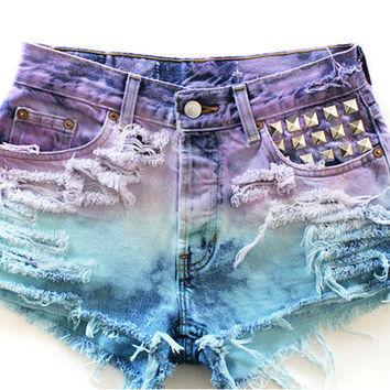 Custom Ombre (Purple and Blue) High Waisted Jean Shorts on Wanelo