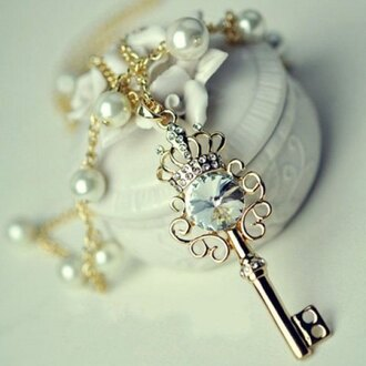 jewels pendant necklace key gold trendy fashion style cute rose wholesale-feb