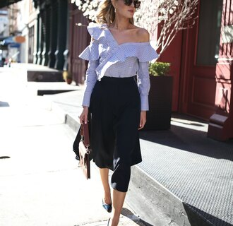 skirt work outfits tumblr midi skirt black skirt ruffle shirt stripes striped shirt sunglasses office outfits spring outfits bag brown bag