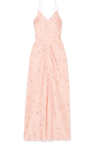 GANNI - Floral-print silk-blend satin maxi dress