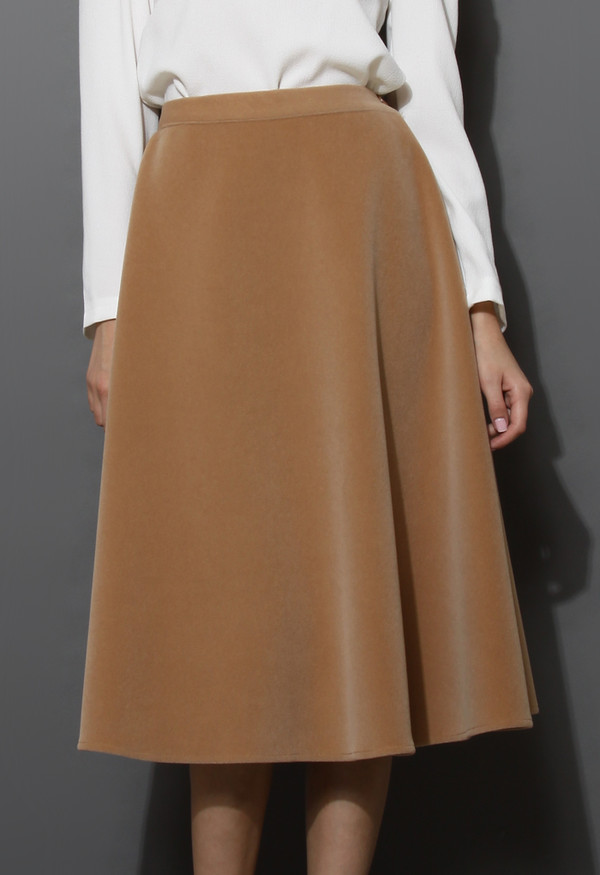 Wool-blend Midi Skirt in Camel - Retro, Indie and Unique Fashion