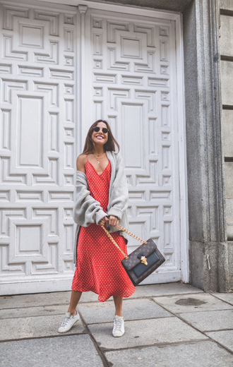 mypeeptoes blogger dress shoes cardigan bag jewels fall outfits red dress louis vuitton bag sneakers grey cardigan