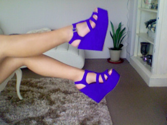 shoes blue purple wedges high heels peep toe cut out shoes summer platform shoes summer shoes