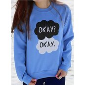 sweater,quote on it,blue,baby blue,okay.,rose wholesale,hipser,hippie,tumblr,urban,tumblr girl,the fault in our stars,fashion,stylish,long sleeves,jumper,trendy,cool,clouds,Fresh Style Round Collar Letter Printed Pullover Sweatshirt For Women