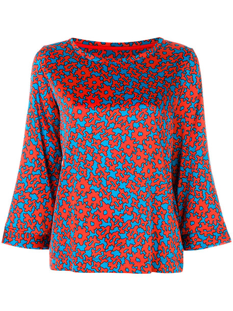 Marc Cain blouse printed blouse women spandex silk red top