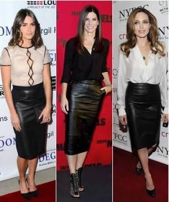 skirt celebrity leather pencil skirt black sandra bullock