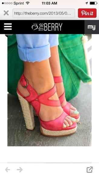 open toes espadrilles heels pink shoes sandal heels