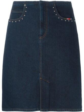 skirt pencil skirt denim blue
