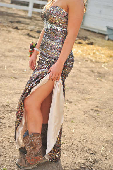 prom dress sequins multicolored boots thigh slit
