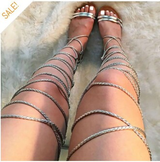 shoes sandals cute trendy summer lace up hot strappy sandals metallic shoes flat sandals