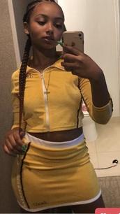 shirt,yellow,dress,cute,two piece dress set,two-piece