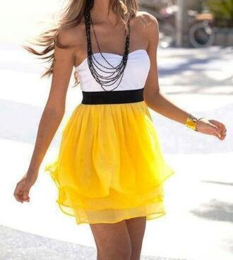 dress prom dress yellow dress white dress party dress pretty t-shirt yellow summer dress clothes yellow summer outfits summer dress beautiful chiffon white black and white yellow skirt sleeveless dress bustier dress white on too yellow on bottom and black belt white and yello