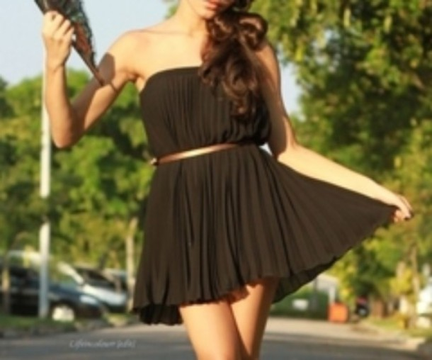 dress black dress cute girly belted