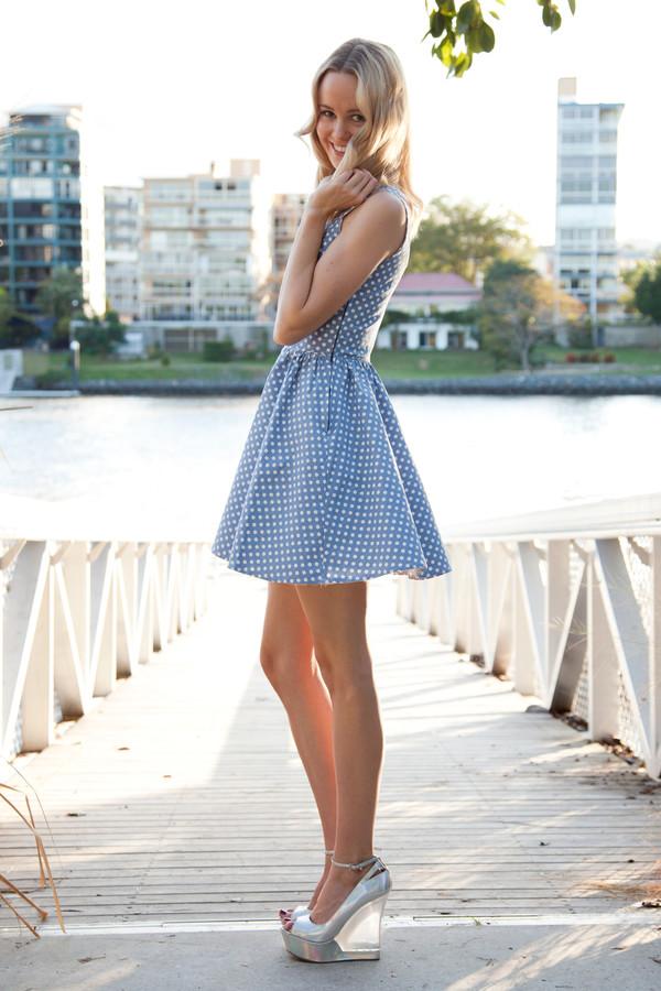 dress blue skater tulle skirt polka dots shopfashionavenue white party prom graduation dress