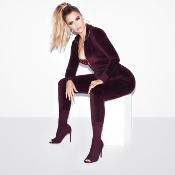 top pants velvet burgundy leggings khloe kardashian kardashians instagram jumpsuit jeans