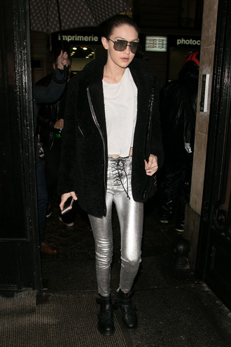 pants silver top paris fashion week 2017 fashion week 2017 gigi hadid