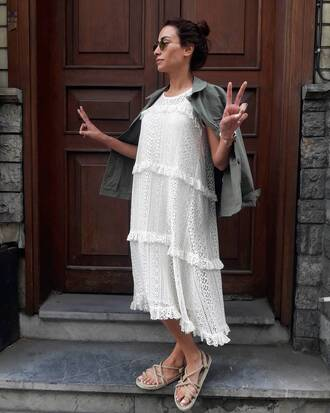 shoes nomadic state of mind sandals flat sandals nude sandals dress white dress midi dress jacket army green jacket sunglasses
