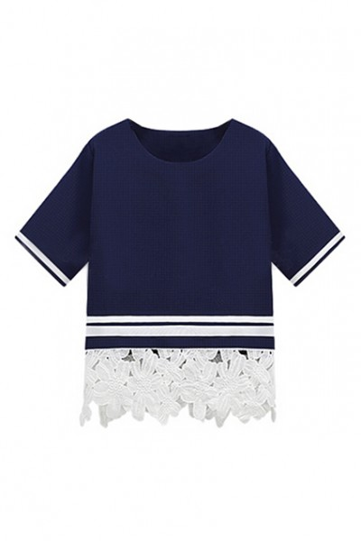 KCLOTH Lace Panel Striped Navy-blue Blouse