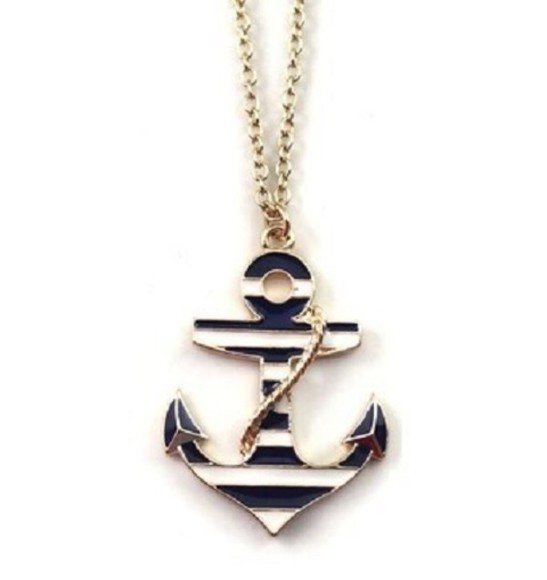 jewels anchor stripes necklace