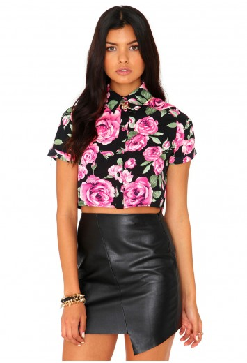 c6cdd4c9b2 Evie Rose Print Roll Sleeve Crop Blouse - tops - missguided