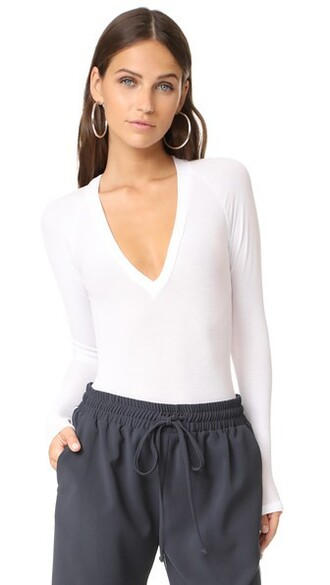 bodysuit v neck white underwear