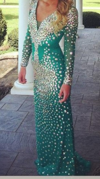 dress green dress long sleeve dress beaded v neck dress