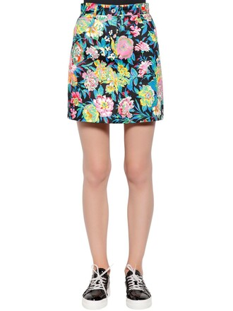 skirt mini skirt denim mini floral cotton multicolor