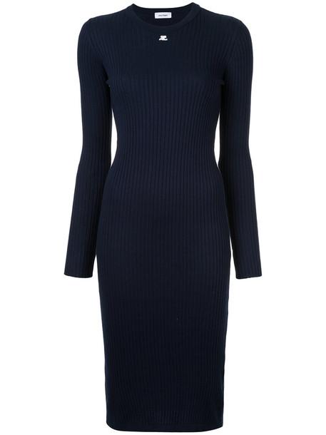 COURRÈGES dress long sleeve dress long open women cotton blue