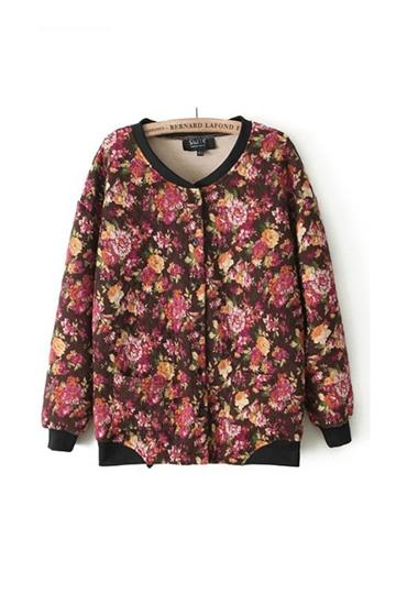 Flower Printing Short Warm Coat [FEBK0498]- US$ 33.99 - PersunMall.com