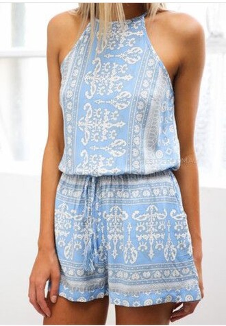 jumpsuit blue playsuit summer playsuit style romper dress blue romper blue white short summer