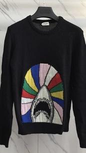 sweater,black,rainbow