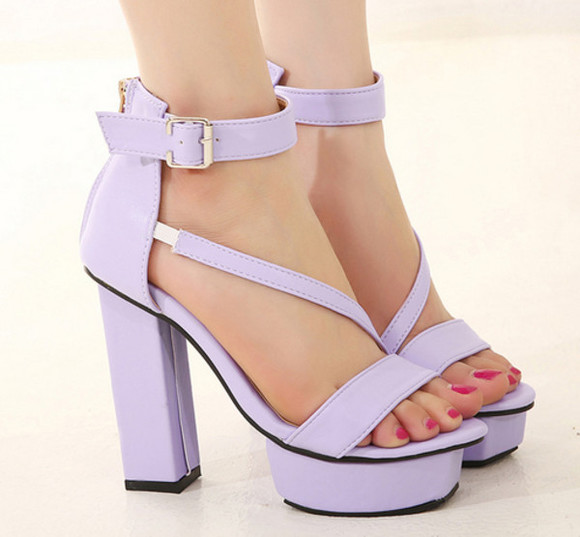 shoes girls purple white strappy heel womens high heels