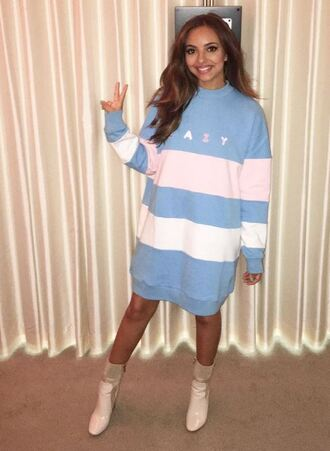 sweater oversized sweater oversized boots jade thirlwall little mix instagram sweater dress stripes striped dress