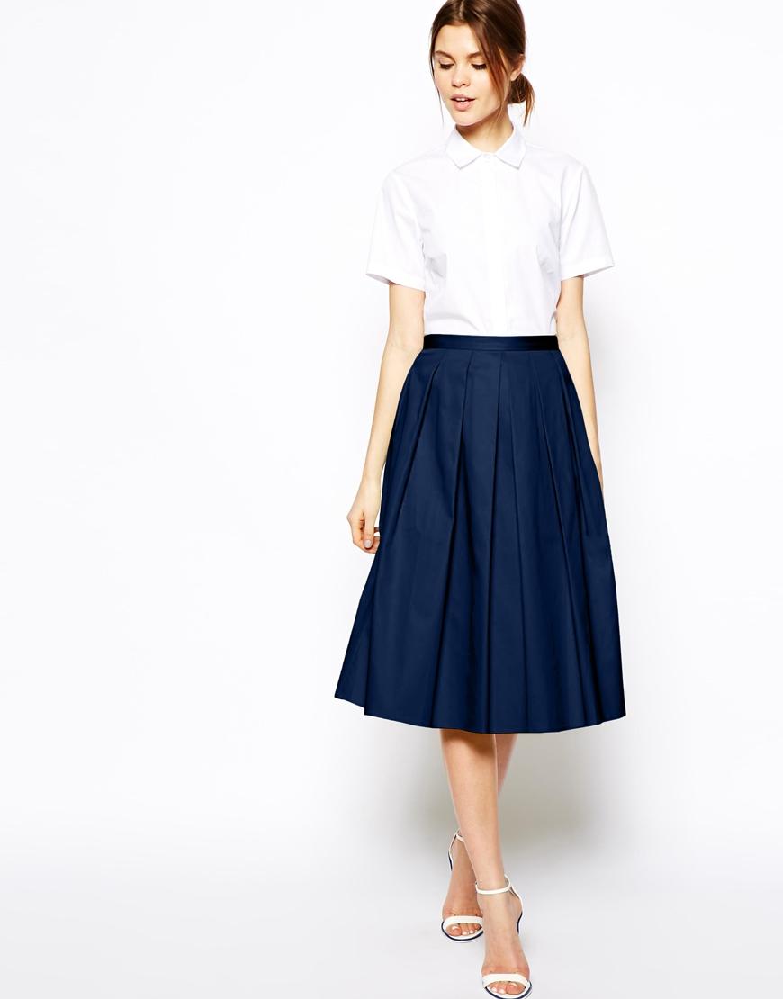 ASOS Full Midi Skirt In Cotton at asos.com