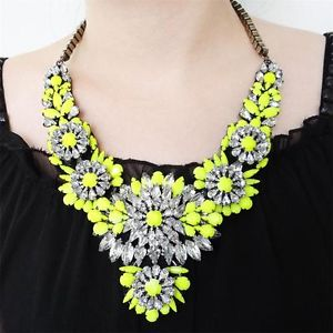 Vintage Style H Quality Neon Pendant Swarovski Crystal Yellow Flower Necklace | eBay