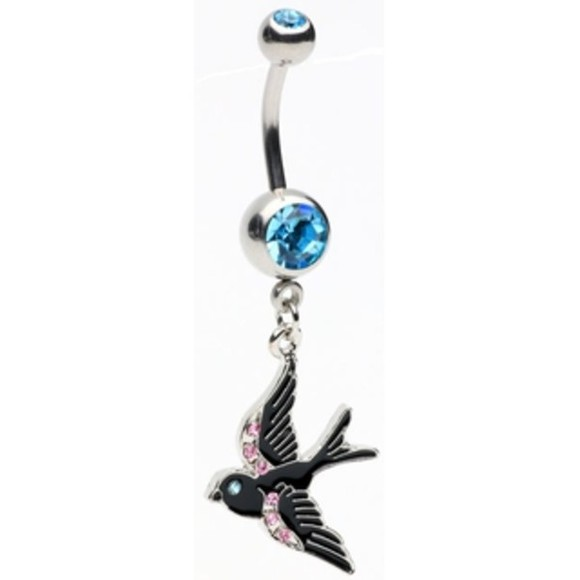 black rock jewels bird pink stones blue bellybutton ring