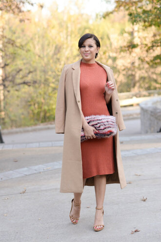 fashionably lo blogger dress coat shoes bag furry pouch furry bag midi knit dress orange orange dress peach camel camel coat sandals sandal heels high heel sandals nude sandals