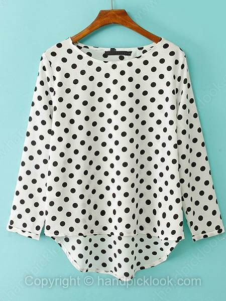 White Round Neck Long Sleeve Polka Dot Dipped Hem Blouse - HandpickLook.com